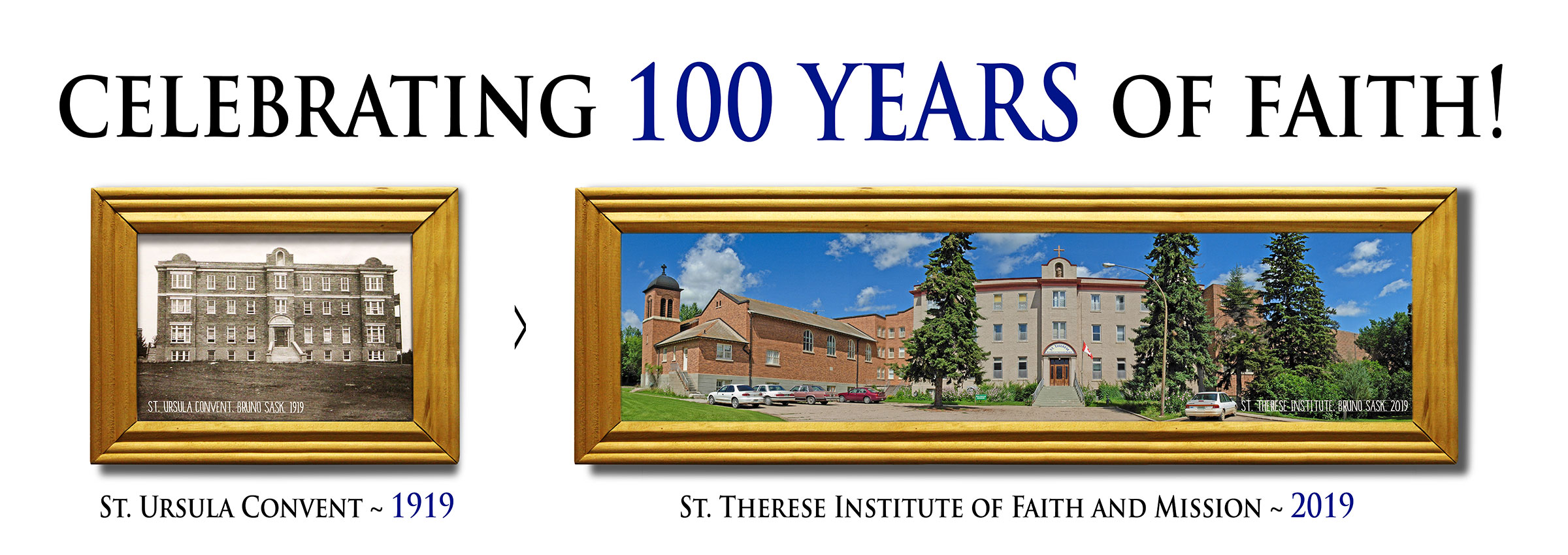 (photo of St. Ursula Convent in 1919, and of St Therese Institute today) Celebrating 100 years of faith.