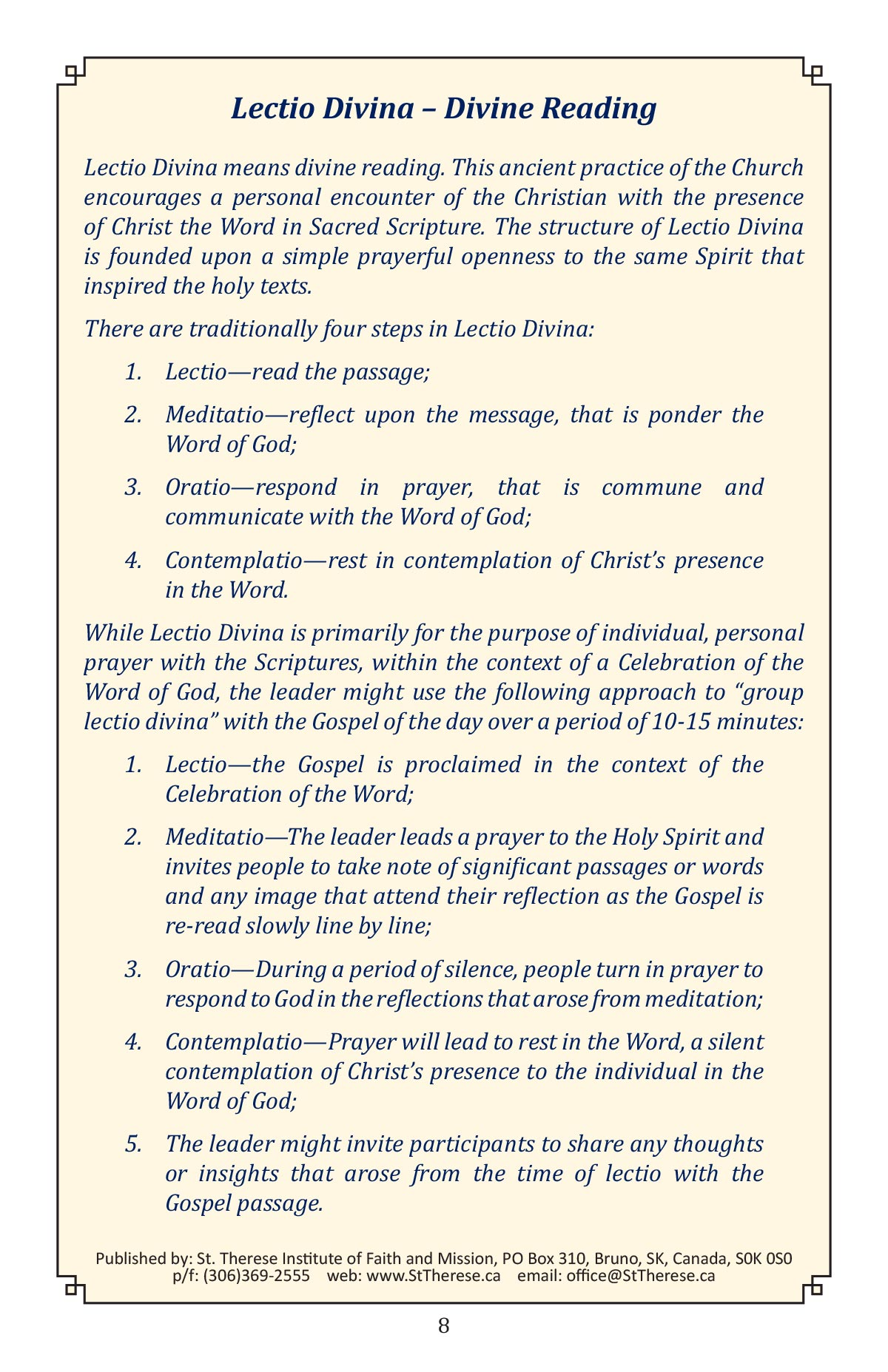 A Celebtation of the Word of God booklet page 10